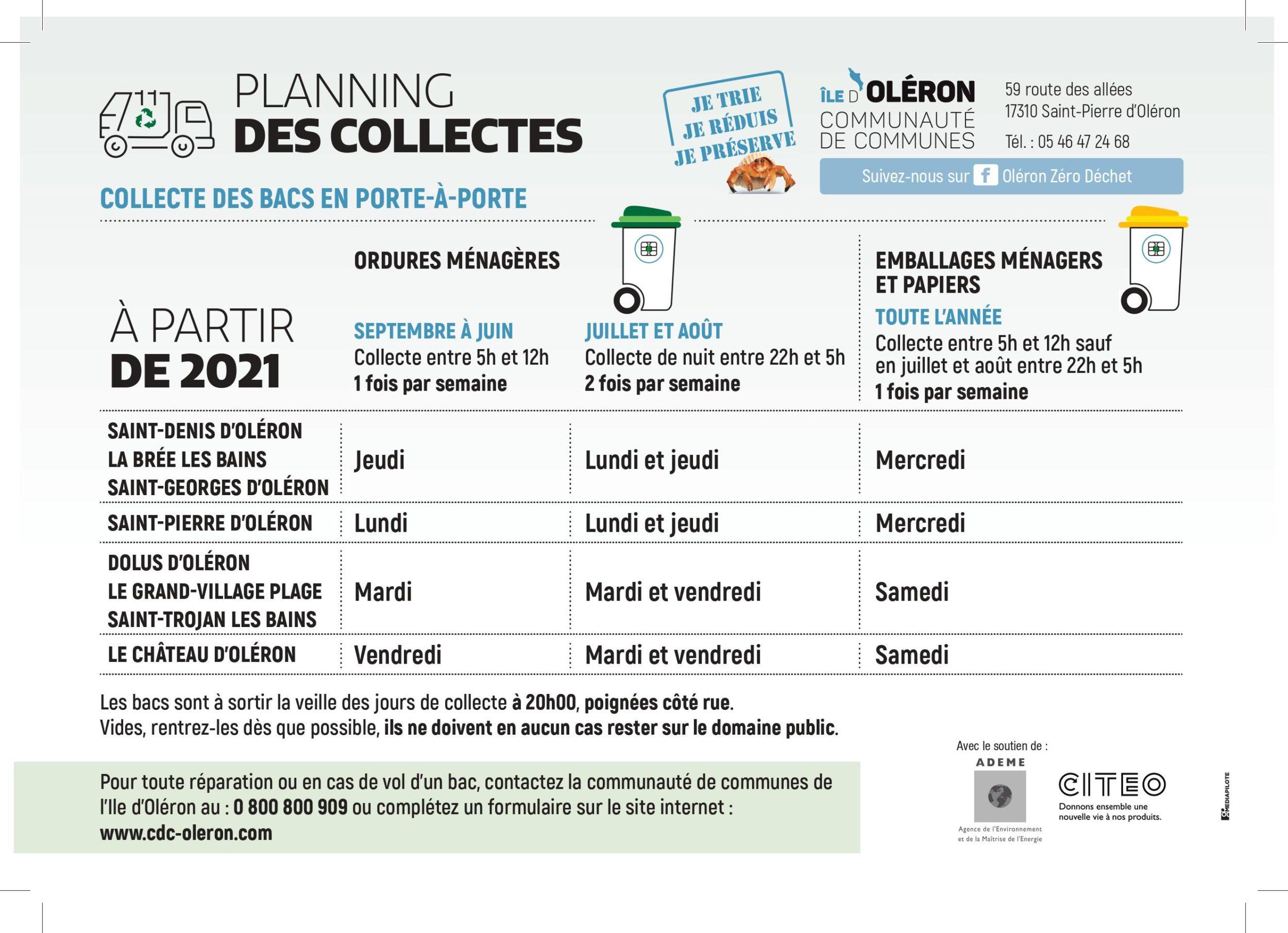 Planning des collectes
